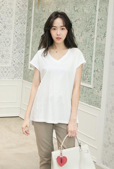 ibelle韓國絲光棉後背壓摺設計上衣