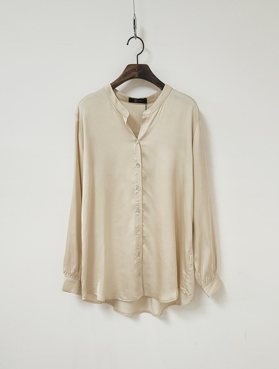 小立領微光澤質感襯衫