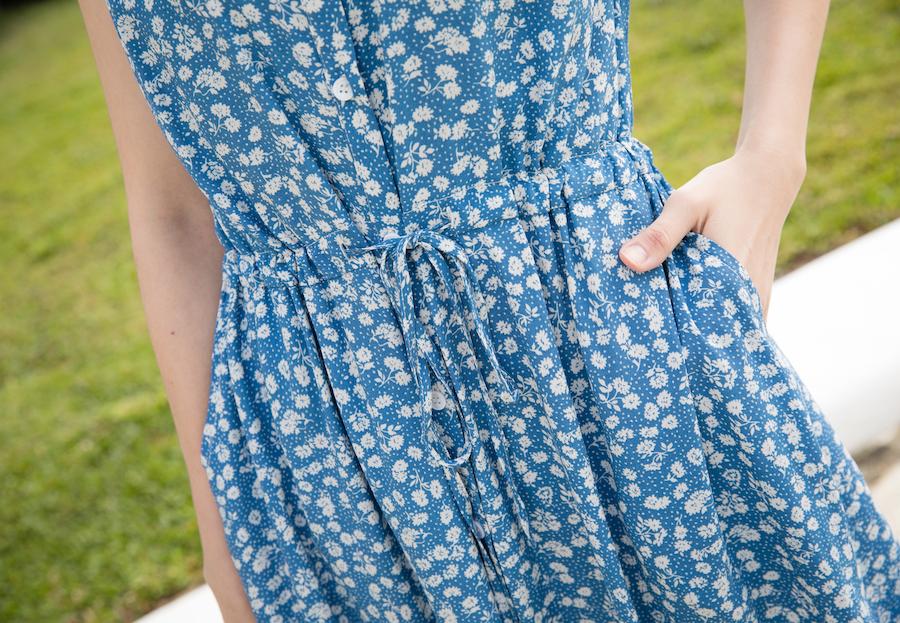 漂亮歐膩抽繩背心花洋裝